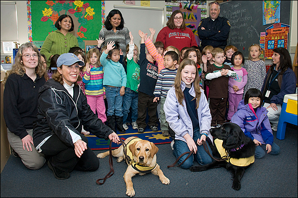 Guide dogs visit Child Development Center and Little Red School House
