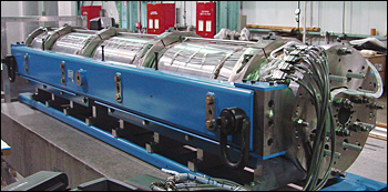 A superconducting niobium tin long quadrupole magnet.