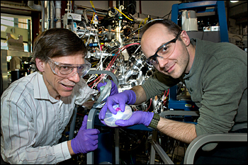 NIST researchers Dan Fischer (left) and Dean DeLongchamp