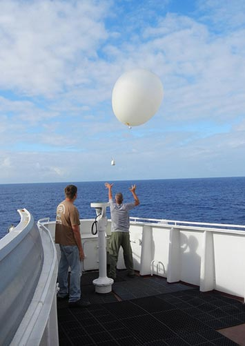 AMF2 technicians release a weather balloon