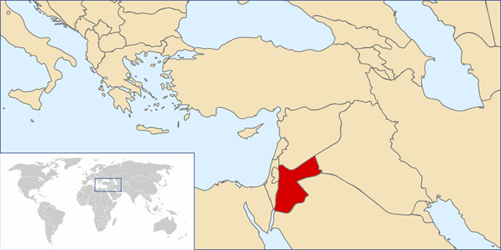 Map showing location of Jordan