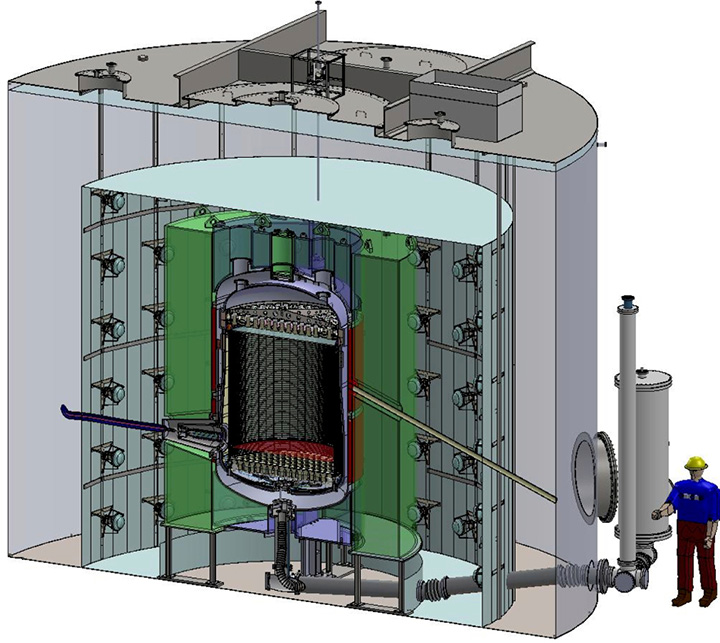 cutaway rendering of the LUX-ZEPLIN (LZ) detector