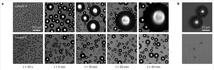 series of optical microscope images condensation of water