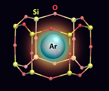 Argon atom trapped in nanocage
