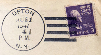 A postmark from Aug. 1, 1947