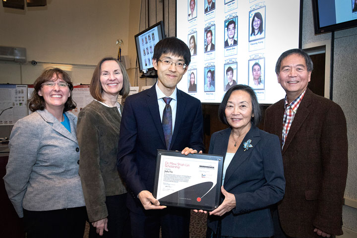 Jiefu Yin with the 2017 Mow Shiah Lin Scholarship