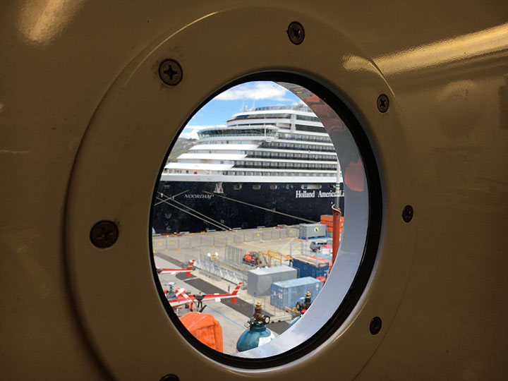 porthole view of cruise ship in Hobart