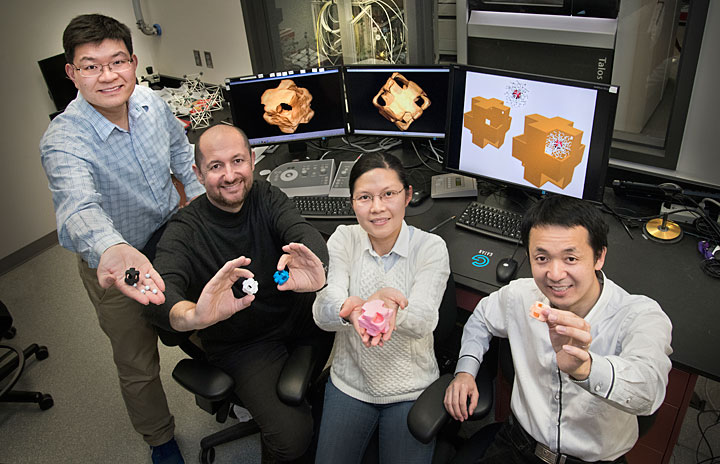 "Picture of scientists holding structural models of ""nanowrappers"""