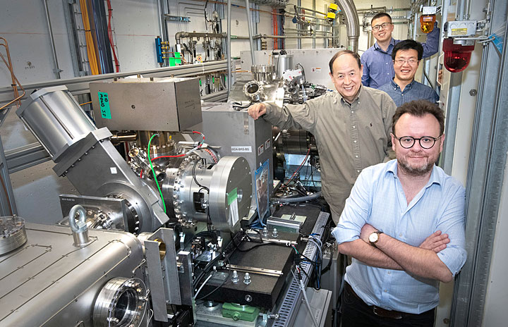 Members of the Brookhaven team are shown at NSLS-II's ISS beamline