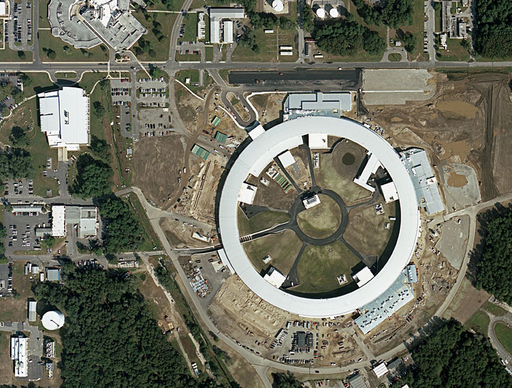 3efa3e0cc8 Aerial view of the construction site of the National Synchrotron Light  Source II, taken in 2009, four years after the project started.