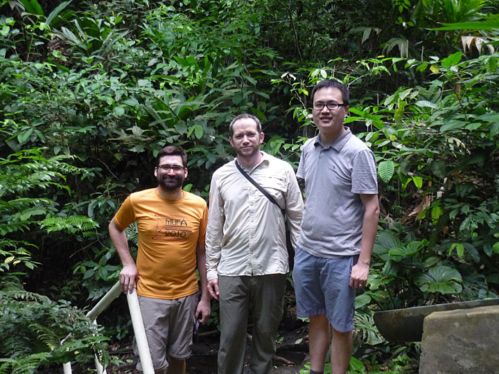 Shawn Serbin, TEST Group leader Alistair Rogers, and Jin Wu take a break from data collection in the field.