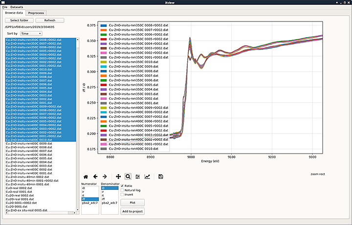 A screenshot of the data acquisition and visualization software