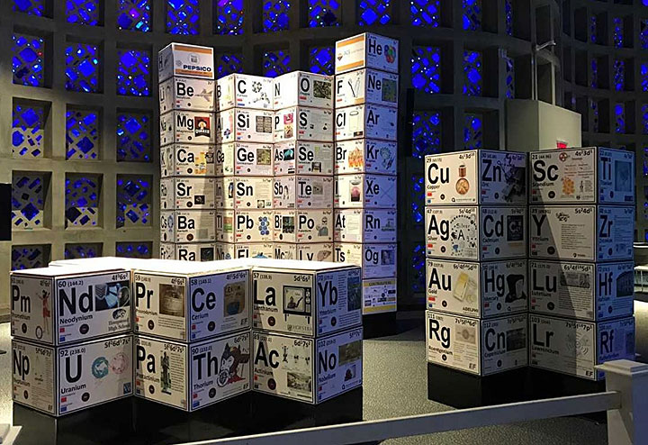 The 3D periodic table on display at the New York hall of Science
