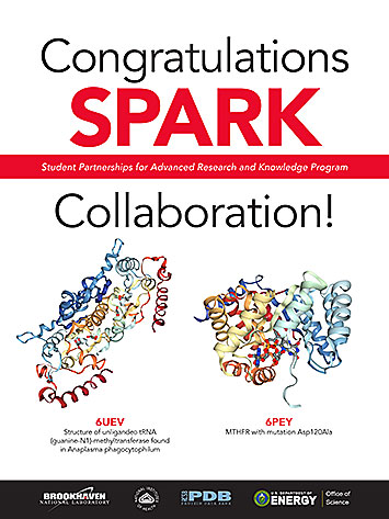 SPARK poster showing the protein structures solved by students at Connetquot, Northport, and Eastpor