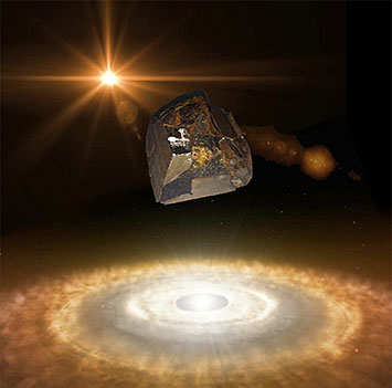 Artistic rendition of a piece of the Mundrabilla meteorite over a protoplanetary nebul