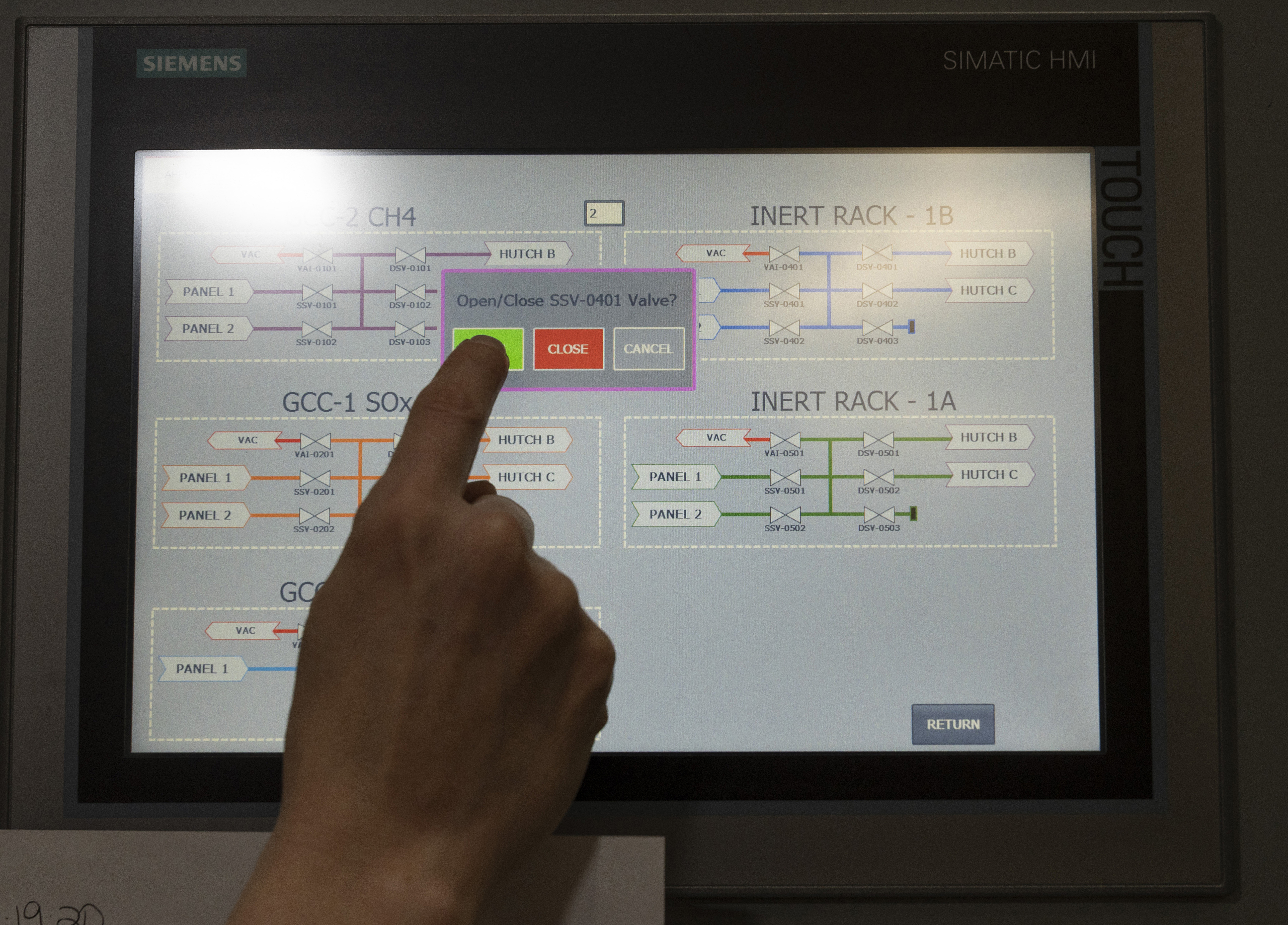 The gas-handling systems Ali has implemented at NSLS-II can be operated via an HMI touchscreen interface.