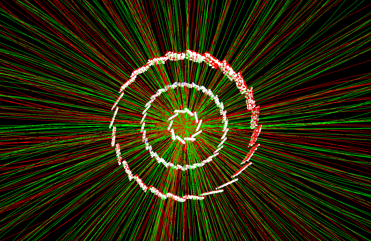 A gold–gold collision recorded by the Heavy Flavor Tracker (HFT) component of the STAR detector at the Relativistic Heavy Ion Collider (RHIC). The white points show