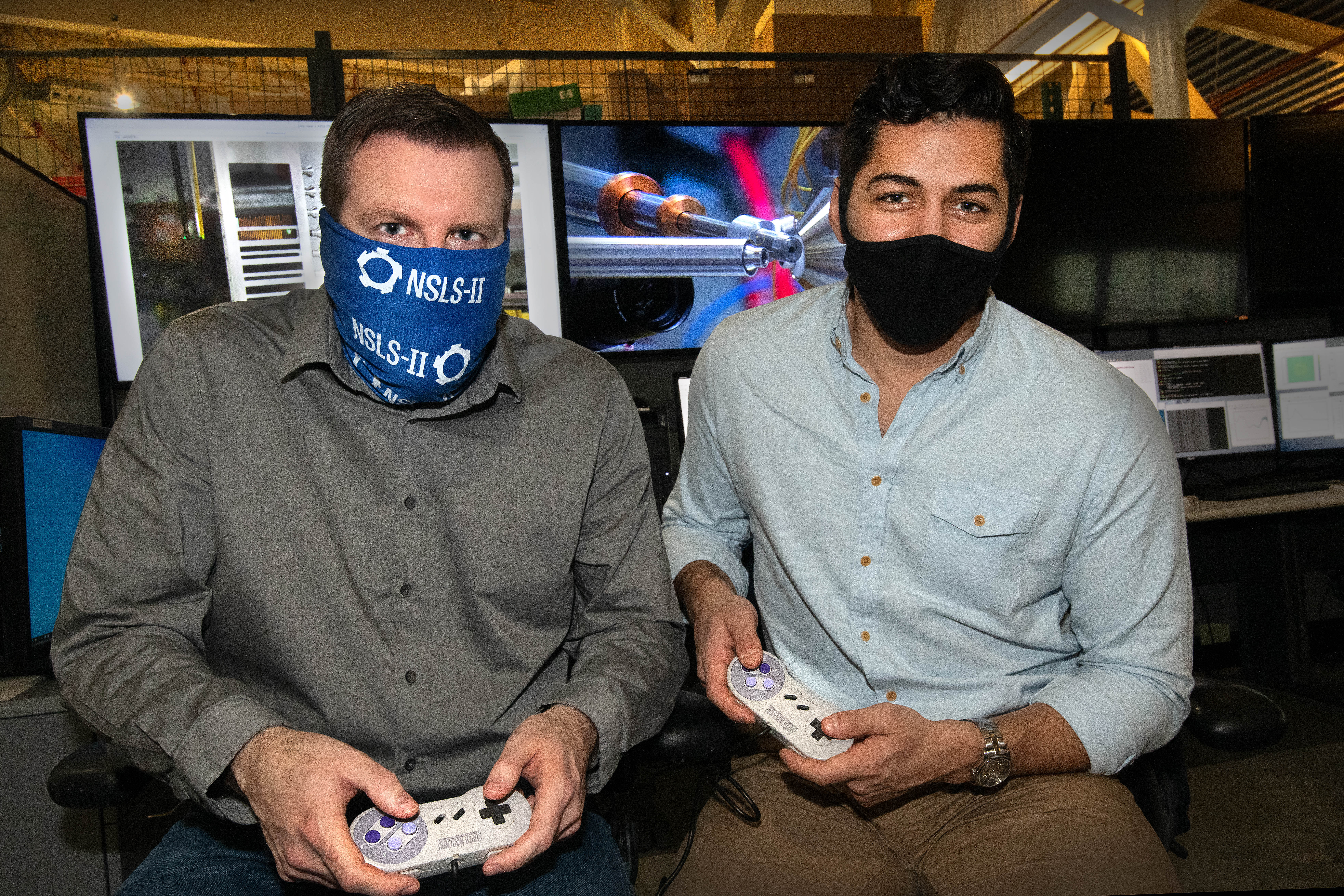 NSLS-II scientists, Daniel Olds (left) and Phillip Maffettone (right), are ready to let their AI agent level up the rate of discovery at NSLS-II's PDF beamline.