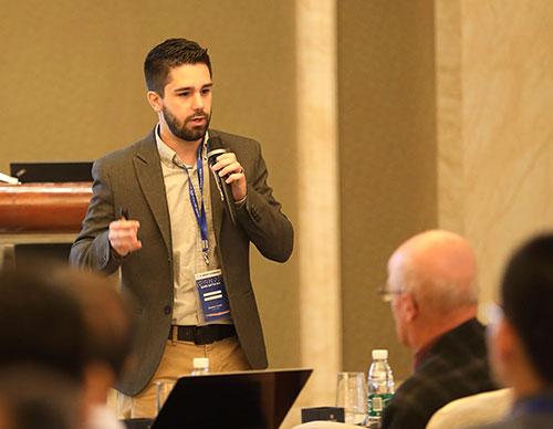 Photo of Daniel Brandenburg presentingat the Quark Matter 2019 conference