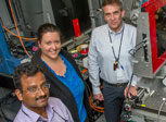 XPD beamline scientist Sanjit Ghose, postdoctoral researcher Anna Plonka, and Brookhaven Chemist Ana