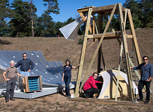 Brookhaven scientists with prototype radio telescope