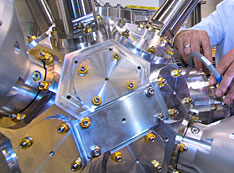 scientist Eli Stavitski is shown at NSLS-II's Inner Shell Spectroscopy beamline