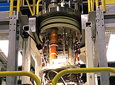The magnet gets ready for a test at Brookhaven National Laboratory