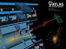 A candidate ATLAS event display of a Higgs boson decay to two muons