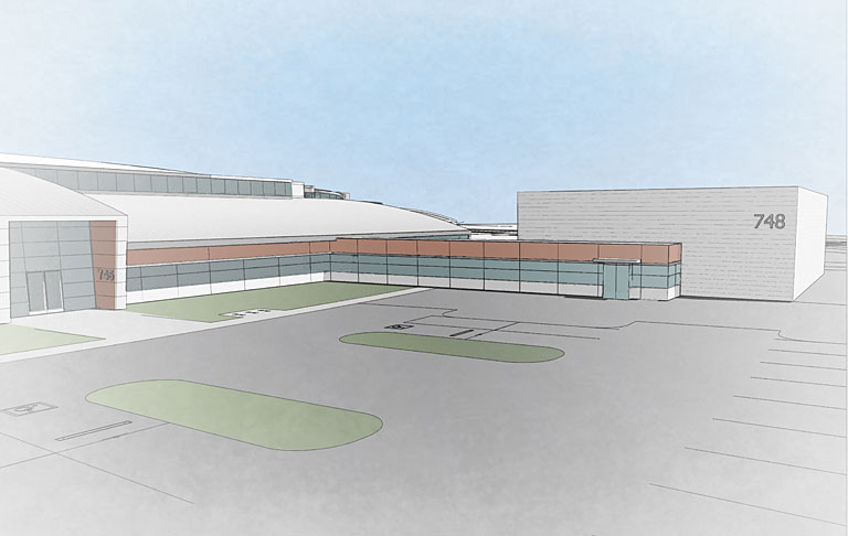 An artist's rendering of the Laboratory of BioMolecular Structure extension building