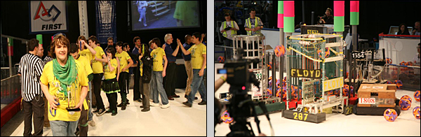 Picture of William Floyd High School's winning Robot Team 287, with mentors