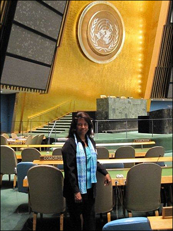Corene Wood inside the main conference hall at the United Nations