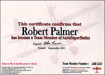 Palmer's certificate