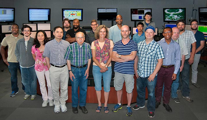 Physicists from Brookhaven's Collider-Accelerator Department gather in RHIC's main control