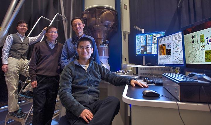 Jing Tao, Lijun Wu, and Yimei Zhu with MIT student Mingda Li