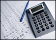 calculator, pencil & blueprints
